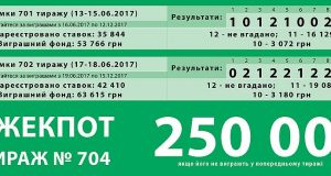 ДЖЕК-ПОТ 250 0000 грн